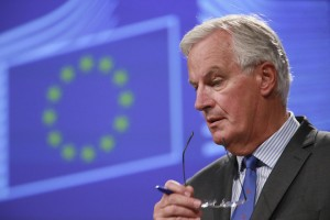 epa06189623 Michel Barnier, the European Chief Negotiator of the Task Force for the Preparation and Conduct of the Negotiations with the United Kingdom under Article 50 gives a press briefing in Brussels, Belgium, 07 September 2017. The European Commission hason 07 Septmber 2017 set out its principles for the political dialogue on Ireland and Northern Ireland in the Brexit negotiations. Commission has also published  four other position papers on customs, intellectual property, public procurement and use of data.  EPA/OLIVIER HOSLET
