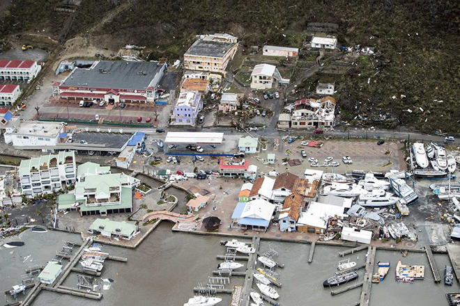 epa06190267 A handout photo made available by the Dutch Department of Defense on 07 September 2017 shows an aerial view of the damages of Hurricane Irma in Philipsburg, Sint Maarten, 06 September 2017. Hurrican Irma was declared the most powerful hurricane ever recorded over the Atlantic Ocean, and left a path of destruction in the Caribbean as it approaches Florida.  EPA/GERBEN VAN ES / DUTCH DEPARTMENT OF DEFENSE / HANDOUT  HANDOUT EDITORIAL USE ONLY/NO SALES