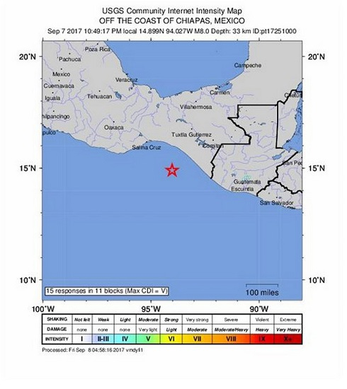 epa06191356 A handout photo made available by the United States Geological Survey shows an intensity map showing the location of a 8.0 magnitude earthquake which struck at a depth of 33 km at 10:49 pm local time off the coast of Tres Picos, Mexico, 07 September 2017. A tsunami warning was issued by the Pacific Tsunami Warning Center, yet there have been reports of damage or fatalities.  EPA/USGS / HANDOUT  HANDOUT EDITORIAL USE ONLY/NO SALES