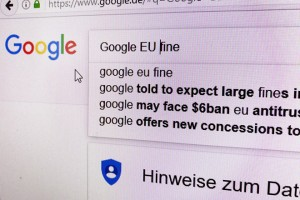 epa06052363 The Google search screen is pictured on a computer screen in Frankfurt, Germany, 27 June 2017. The European Commission on 27 June 2017 said it would fine the Google with 2.4 billion euros for abusing its dominance as a search engine.  EPA/MAURITZ ANTIN
