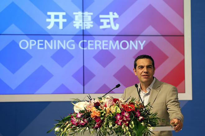 Ο πρωθυπουργός Αλέξης Τσίπρας μιλάει στα εγκαίνια του περίπτερου της Κίνας η οποία είναι τιμώμενη χώρα, στο πλαίσιο της επίσκεψης του στην 82η ΔΕΘ στη Θεσσαλονίκης, Σάββατο 9 Σεπτεμβρίου 2017. ΑΠΕ ΜΠΕ/PIXEL/ΣΩΤΗΡΗΣ ΜΠΑΡΜΠΑΡΟΥΣΗΣ