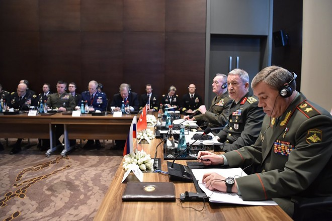 epa05834162 A handout photo made available by Turkish Armed Forces General Staff Press Office on 07 March 2017 shows Chief of the General Staff of the Turkish Armed Forces, Hulusi Akar (2-R), US Chariman of the Joint Staff General Joseph Dunford (3-R) and Russian Chief of General Staff General Valery Gerasimov (R) during their meeting in Antalya, Turkey, 07 March 2017. Turkish, Russian and US Chiefs of General Staff meeting was on recent operations against IS in Syria.  EPA/TURKISH ARMED FORCES GENERAL STAFF PRESS OFFICE HANDOUT  HANDOUT EDITORIAL USE ONLY/NO SALES