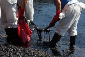"""Συνεργείο καθαρισμού προσπαθεί να καθαρίσει το μαζούτ από την παραλία των Σεληνίων στη Σαλαμίνα, Σάββατο 16 Σεπτεμβρίου 2017. Το πετρέλαιο  διέρρευσε από το ναυάγιο του πετρελαιοφόρου πλοίου """"Αγία Ζώνη ΙΙ """" που βούλιαξε την περασμένη Κυριακή στη Σαλαμίνα. ΑΠΕ-ΜΠΕ/ΑΠΕ-ΜΠΕ/Αλέξανδρος Μπελτές"""