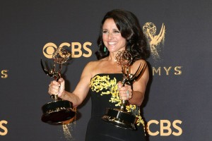 epa06211711 Julia Louis-Dreyfus, winner of the awards for Outstanding Comedy Series and Outstanding Lead Actress in a Comedy Series for 'Veep,' poses in the press room during the 69th annual Primetime Emmy Awards ceremony held at the Microsoft Theater in Los Angeles, California, USA, 17 September 2017. The Primetime Emmys celebrate excellence in national primetime television programming.  EPA/NINA PROMMER