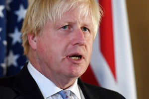 epa06204517 British Foreign Secretary Boris Johnson  address the media during a press conference with U.S Secretary of State Rex Tillerson (out of picture) in London, Britain, 14 September 2017.  EPA/ANDY RAIN