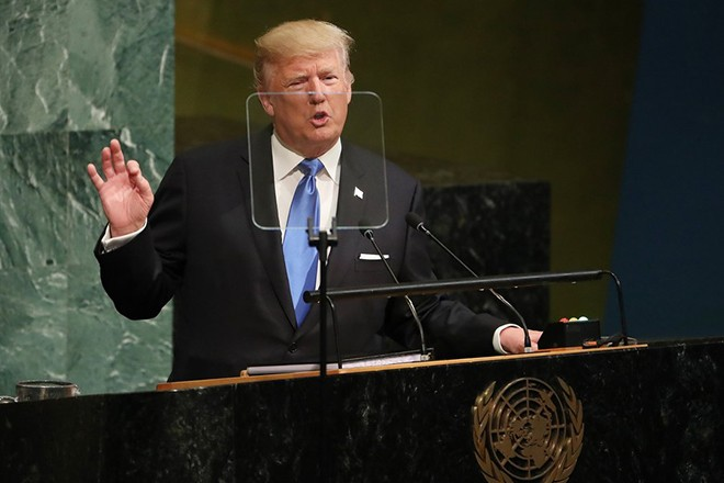 epa06213746 US President Donald J. Trump speaks during the opening session of the General Debate of the 72nd United Nations General Assembly at the UN headquarters in New York, New York, USA, 19 September 2017. The annual gathering of world leaders formally opens 19 September 2017, with the theme, 'Focusing on People: Striving for Peace and a Decent Life for All on a Sustainable Planet'.  EPA/ANDREW GOMBERT