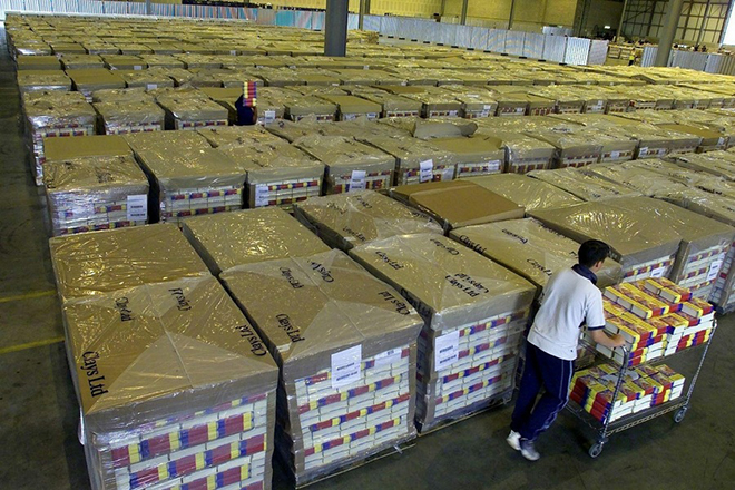 Stocks of Harry Potter and the Order of the Phoenix books being packed in a secure 186,000 square foot warehouse at Amazon.co.uk's distribution centre in Milton Keynes, Wednesday June 18, 2003, ahead of the book's release on Saturday. With 350,000 pre-orders to date on Amazon.co.uk, delivery is set to be the largest distribution of any single item in e-commerce history.  EPA PHOTO/PA/STR