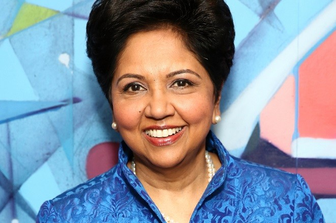 NEW YORK, NY - OCTOBER 14:  (EXCLUSIVE COVERAGE) Chief Executive Officer of PepsiCo Indra Nooyi poses for a photo when she visits to sit down with LinkedIn Executive Editor Dan Roth at LinkedIn on October 14, 2016 in New York City.  (Photo by Monica Schipper/Getty Images)