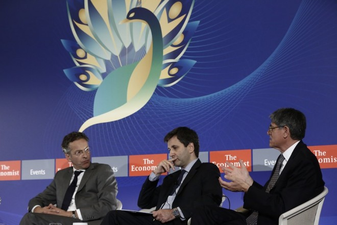 epa06226835 Former US Treasury Secretary, Jack Lew (R), talks next to Greek Deputy Finance Minister George Chouliarakis (C) and the President of Eurogroup and Dutch Finance Minister, Jeroen Dijsselbloem (L), during the Economist conference 'How fast can we grow? Vital questions for America, Europe and Greece', in Athens, Greece, 25 September 2017. Eurogroup president Jeroen Dijsselbloem said it is 'feasible' for Greece's third program review to be completed before the end of 2017, during a joint press conference with Greek counterpart Euclid Tsakalotos in Athens. Dijsselbloem is in Athens on an one-day working visit.  EPA/YANNIS KOLESIDIS