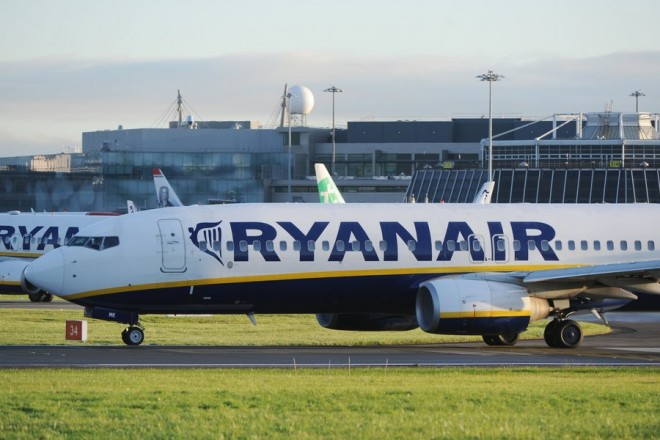 epa06231695 A Ryanair Boeing 737 at Dublin Airport, Ireland, 28 September 2017. Ryanair is facing enforcement action from the Civil Aviation Authority, as the no-frills carrier announces a second wave of flight cancellations that will affect 400,000 customers.  EPA/AIDAN CRAWLEY