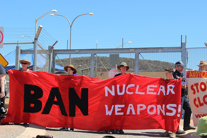 epa06247806 A handout photo made available by the International Campaign to Abolish Nuclear Weapons (ICAN) shows ICAN activists protesting against at a US military base near Alice Springs, Central Australia, 29 September 2016 (issued 06 October 2017). ICAN has won the 2017 Nobel Peace Prize, the Norwegian Nobel Committee based in Oslo, Norway, announced on 06 October 2017.  EPA/TIM WRIGHT / ICAN HANDOUT  HANDOUT EDITORIAL USE ONLY/NO SALES