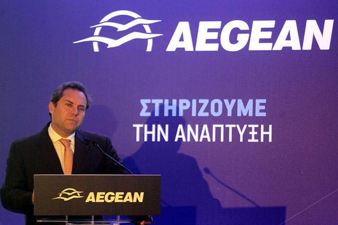 O αντιπρόεδρος της AEGEAN Ευτύχιος Βασιλάκης μιλάει στη συνέντευξη τύπου για την παρουσίαση του θερινού προγράμματος 2016 της εταιρείας σε κεντρικό ξενοδοχείο της Αθήνας, Πέμπτη 29 Οκτωβρίου 2015. ΑΠΕ-ΜΠΕ/ΑΠΕ-ΜΠΕ/ΑΛΕΞΑΝΔΡΟΣ ΒΛΑΧΟΣ