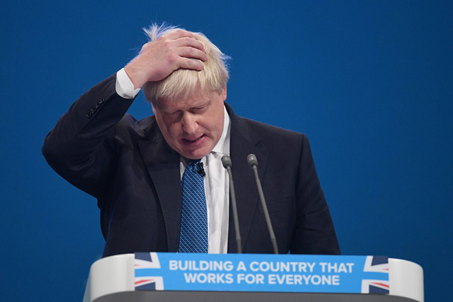 epa06242416 Britain's Foreign Secretary, Boris Johnson delivers his speech on the third day of Conservative Party Conference in Manchester, Britain, 03 October 2017. The conference will run from 01-04 of October 2017.  EPA/FACUNDO ARRIZABALAGA