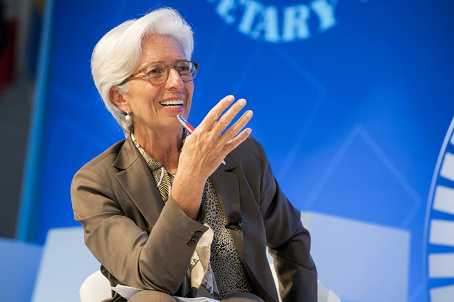 epa06260027 A handout photo made available by the International Monetary Fund (IMF) shows International Monetary Fund Manging Director Christine Lagarde participating in a seminar titled 'The New Economy Forum: Future of Work' during the IMF/World Bank Annual Meetings at the IMF Headquarters in Washington, DC, USA, 11 October 2017.  EPA/STEVE JAFFE / IMF / HANDOUT  HANDOUT EDITORIAL USE ONLY/NO SALES