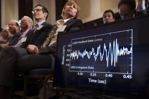 epa05154890 A graphic of gravitational waves measured by two LIGO detectors are shown as members of the news media and guests listen to remarks on the discovery of gravitational waves, during a press conference in Washington, DC, USA, 11 February 2016. US researchers say they have detected gravitational waves, which physicist Albert Einstein first described 100 years ago as 'ripples in the fabric of space-time.' Scientists from Caltech and the Massachusetts Institute of Technology (MIT) made the announcement in Washington and other locations around the world. There were immediate suggestions that the discovery could well win them the Nobel Prize in Physics. The signal detected with  the Laser Interferometer Gravitational-Wave Observatory (LIGO), an observatory with sites on both sides of the United States, was very clear and there was no room for doubt that it was direct evidence of the waves, said Bruce Allen, acting director at Germany's Max Planck Institute for Gravitational Physics. The announcement may confirm Albert Einstein's last unproven theory, dating from 1916. According to Einstein's theory, gravitational waves move at the speed of light in a vacuum and bend space. Each accelerated body, therefore, sends gravitational waves, which increase in strength the greater the mass and the faster it moves.  EPA/SHAWN THEW