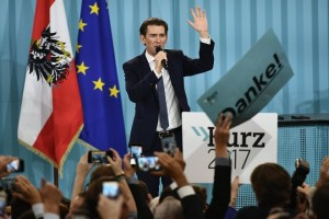 epaselect epa06268177 Austrian Foreign Minister Sebastian Kurz, the leader and top candidate of the Austrian Peoples Party (OeVP) addresses his supporters during an OeVP's election party after the Austrian Federal Elections, in Vienna, Austria, 15 October 2017. According to the Interior ministry more than six million people were eligible to vote in the elections for a new federal parliament, the Nationalrat, in Austria.  EPA/CHRISTIAN BRUNA
