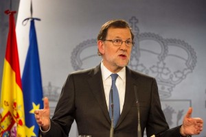 Spanish Prime minister Mariano Rajoy gives a press Conference after meeting with Spanish King, at La Moncloa palace in Madrid on February 26, 2016.  / AFP / CURTO DE LA TORRE        (Photo credit should read CURTO DE LA TORRE/AFP/Getty Images)