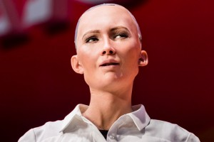 HONG KONG, HONG KONG - JULY 12: Sophia the Robot, robot of Hanson Robotics, attends the Day 2 of the RISE Conference 2017 at the Hong Kong Convention and Exhibition Centre on 12 July 2017, in Hong Kong, Hong Kong. (Photo by studioEAST/Getty Images)