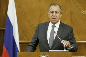 epa06198016 Russian Foreign Minister Sergei Lavrov speaks during a joint news conference with Jordanian Foreign Minister Ayman al-Safadi (not pictured) at the Foreign Ministry in Amman, Jordan, 11 September 2017. Lavrov arrived in Amman following a visit to Saudi Arabia where he had talks that mainly focused on the situation in Syria and conflict among GCC countries.  EPA/AHMAD ABDO