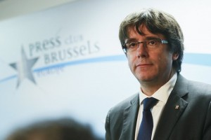 epa06299692 Dismissed Catalan regional President Carles Puigdemont gives a statement during a press conference at Press club in Brussels, Belgium, 31 October 2017. Puigdemont was dismissed from the post after Spanish Government implemented the Spanish Constitution's article 155 in response to the Catalan Parliament's vote in favor of declaring independence. On 30 October Spanish Attorney-General's office has filed a complaint against dismissed Catalonian regional President, Carles Puigdemont, and his Cabinet for the alleged offenses of rebellion, sedition and embezzlement before Audiencia Nacional Court.  EPA/OLIVIER HOSLET