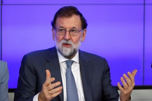 epa06297951 Mariano Rajoy, Spanish Prime Minister and President of ruling People's Party', chairs a meeting of party's executive committee in Madrid, Spain, 30 October 2017, in the first working day after the implementation of the Spanish Constitution's article 155.  EPA/Emilio Naranjo