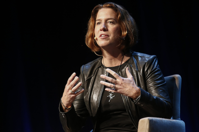 Margo Georgiadis, president of Americas at Google Inc., gestures as she speaks during the 2015 Consumer Electronics Show (CES) in Las Vegas, Nevada, U.S., on Wednesday, Jan. 7, 2015. This year's CES will be packed with a wide array of gadgets such as drones, connected cars, a range of smart home technology designed to make everyday life more convenient and quantum dot televisions, which promise better color and lower electricity use in giant screens. Photographer: Patrick T. Fallon/Bloomberg via Getty Images