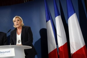epa06023250 Marine Le Pen, leader of French far-right National Front (FN) party, delivers a statement after polls closed for the first round of the French legislative elections in Henin-Beaumont, northern France, 11 June 2017.  First projections showed French President Macron's party 'Le Republique En Marche' (The Republic on the Move, LREM) emerging as the big winner as France holds the first round of parliamentary elections on 11 June 2017, just under two months after Macron took office as French President.  EPA/THIBAULT VANDERMERSCH