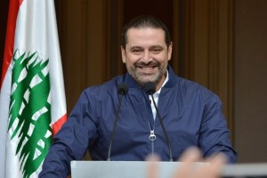 epa06343940 Lebanese Prime Minister Saad Hariri speaks to his supporters at his home at downtown Beirut, Lebanon, 22 November 2017. Hariri, who had recently announced his resignation, said he would temporarily refrain from stepping down from office at the behest of the country's president.  EPA/WAEL HAMZEH
