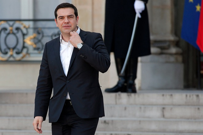 Greece's Prime Minister Alexis Tsipras leaves after a meeting with European political leaders, at the Elysee Palace, in Paris, Saturday, March 12, 2016. Several European leaders are meeting in Paris to discuss ways of strengthening Europe's stance on migration and boosting spotty growth. (AP Photo/Thibault Camus)