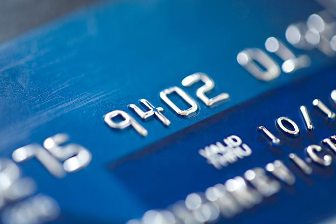 Dark blue bank credit card close up