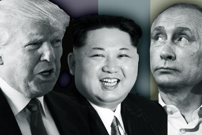 trump, kim, Putin