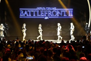 epa06021923 Star Wars Storm troopers take to the stage to introduce Star Wars Battlefront II game at the Electronic Arts press conference at the Hollywood Palladium in Hollywood, California, USA, 10 June 2017. The E3 expo introduces new games and gaming devices and is an anticipated annual event among gaming enthusiasts and marketers. The event runs from 13 to 16 June 2017.  EPA/MIKE NELSON