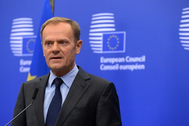 "European Union (EU) Council President Donald Tusk speaks to the media about the US elections at the EU Council building in Brussels on November 9, 2016.  Political novice and former reality TV star Donald Trump has defeated Hillary Clinton to take the US presidency, stunning America and the world in an explosive upset fueled by a wave of grassroots anger. EU leaders Donald Tusk and Jean-Claude Juncker invited him to an EU-US summit at his ""earliest convenience"" to seek reassurances about transatlantic ties. / AFP / THIERRY CHARLIER        (Photo credit should read THIERRY CHARLIER/AFP/Getty Images)"