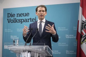 epa06285534 Austrian Foreign Minister and leader of the Austrian Peoples' Party (OeVP), Sebastian Kurz, delivers a press statement at the party headquarters in Vienna, Austria, 24 October 2017. Kurz announced his plans to start coalition negotiations for a new Austrian government with the right-wing Austrian Freedom Party (FPOe).  EPA/CHRISTIAN BRUNA