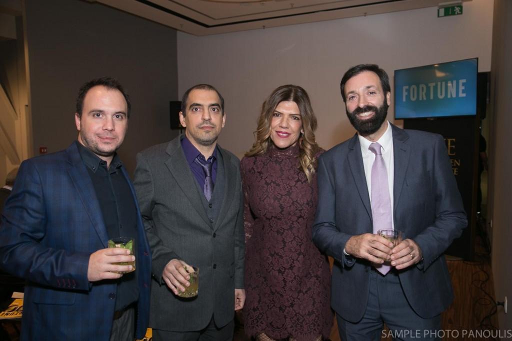 Πέτρος Μπουρούτης, Αλέξης Νικολαΐδης και Νικόλας Γκουζέλος της Infobank Hellastat με την Αναστασία Παρετζόγλου του Fortune.