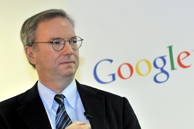 Google executive chairman Eric Schmidt is seen during a news conference at the main office of Google Korea in Seoul on November 8, 2011.   Schmidt said that he has asked the South Korean president and top telecommunication regulator to take a cue from countries with more lax rules on the Internet.   AFP PHOTO/JUNG YEON-JE (Photo credit should read JUNG YEON-JE/AFP/Getty Images)