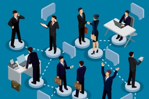 Vector illustration of a set of 3D isometric people in business suits in the office. Isometric business men and business women in different poses.