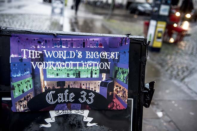 epa06414292 A sign for the Worlds biggest Vodka collection in Copenhagen Denmark, 03 January 2018 after a bottle of Russo-Baltique vodka was stolen on 02 January 2017 from cafe 33 in Copenhagen. The bottle itself is made of three kilos of gold and three kilos of silver. The bottle of vodka is estimated to have a value of eight million kroner and was showcased in Cafe 33 as part of a collection of vodka which contains 1200 bottles.  EPA/Mads Claus Rasmussen  DENMARK OUT