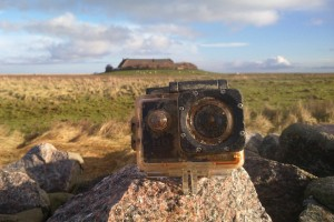 epa06359934 An image dated 27 November 2017, made available 30 November 2017, of a GoPro camera in a water-proof casing placed on a rock in Hallig Suederoog islet, at Germany's North Sea coast. German media reports state the inhabitants of the island are on Facebook trying to find the British youngster that lost the camera while at a beach in Britain two months earlier. Following the British sea rescue personnel comparing scenes on the video found in the camera, it is assumed the location it was lost must have been Thornwick Bay near Flamborough Cliffs in East Yorkshire, Britain. The camera was lost 01 September 2017 and drifted two months in North Sea before it stranded some 800 km away at Hallig Suederoog at Germany's North Sea coast.  EPA/HOLGER SPREER