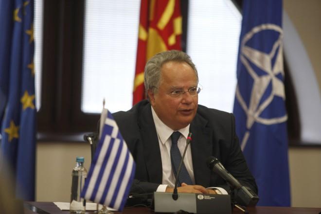 Ο αντιπρόεδρος και υπουργό Εξωτερικών της πρώην Γιουγκοσλαβικής Δημοκρατίας της Μακεδονίας, Νικόλα Πόποσκι (δεν εικονίζεται) με τον  υπουργό Εξωτερικών Νίκο Κοτζιά κάνουν κοινές δηλώσεις μετά τη συνάντησή τους, την  Πέμπτη 25 Αυγούστου 2016. Στα Σκόπια μεταβαίνει σήμερα ο ΥΠΕΞ, όπου για πρώτη φορά Έλληνας υπουργός Εξωτερικών θα μιλήσει στην ετήσια Συνάντηση Διπλωματών, ύστερα από πρόσκληση του ομολόγου του και αντιπροέδρου της κυβέρνησης Νικόλα Πόποσκι. Ο Κ. Κοτζιάς θα συναντηθεί με τον υπηρεσιακό πρωθυπουργό της πΓΔΜ Εμίλ Ντιμιτρίεβ  και τον πρόεδρο της πΓΔΜ Γκιόργκε Ιβάνοφ. ΑΠΕ-ΜΠΕ/ΑΠΕ-ΜΠΕ/ΝΙΚΟΣ ΑΡΒΑΝΙΤΙΔΗΣ