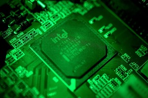 epa06416837 A close-up photo showing an Intel computer circuit board displayed in Duesseldorf, Germany, 04 January 2018. Reports on 04 January 2018 state technology companies are rushing to fix two considerable flaws in popular computer chips manufactured by Intel, AMD and ARM. Security researchers at Google, working together with specialists in several countries, have discovered two major security threats in processors manufactured by AMD, Intel and ARM. The flaws could help attackers to gain access to sensitive information such as banking information and passwords. It is not known if the boards and chips pictured contain the security vulnerability.  EPA/SASCHA STEINBACH