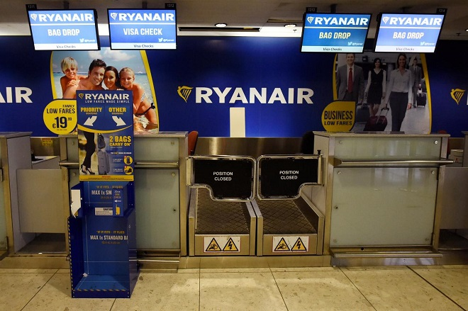 FILE PHOTO - A closed Ryanair passenger check-in area is seen at Dublin airport in Dublin, Ireland September 27, 2017. REUTERS/Clodagh Kilcoyne