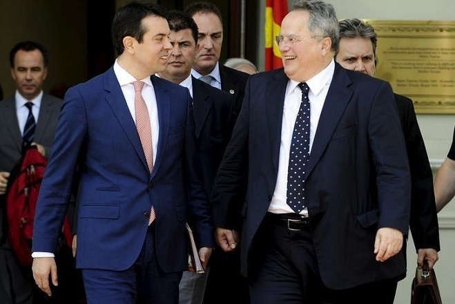 Macedonian Foreign Minister Nikola Poposki (2nd L) meets with his Greek counterpart Nikos Kotzias in Skopje, Macedonia June 24, 2015. REUTERS/Ognen Teofilovski