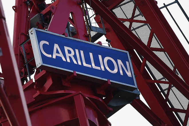 epa06443371 A Carillion crane stands at a construction site in London, Britain, 16 January 2018. Thousands of jobs in the UK and abroad maybe lost following the news that Construction company Carillion is to go into liquidation. Talks between lenders and the UK government has failed to reach a deal.  EPA/ANDY RAIN