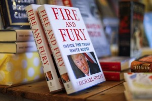epa06419295 Michael Wolff's book 'Fire and Fury' about the Trump White House for sale at the Little Shop of Stories bookstore in Decatur, Georgia, USA 05 January 2018. The book's release came four days early amid threats of lawsuits from President Trump and his legal team.  EPA/ERIK S. LESSER
