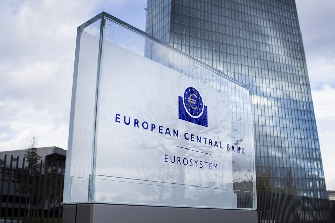 Frankfurt, Germany - November 15, 2015: New building of European Central Bank ECB, EZB headquarters at Eastend Frankfurt, Germany. Close-up of the logo in front of the building.