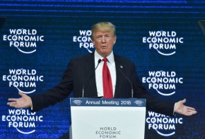 US President Donald Trump delivers a speech during the World Economic Forum (WEF) annual meeting on January 26, 2018 in Davos, eastern Switzerland.  / AFP PHOTO / Nicholas Kamm        (Photo credit should read NICHOLAS KAMM/AFP/Getty Images)