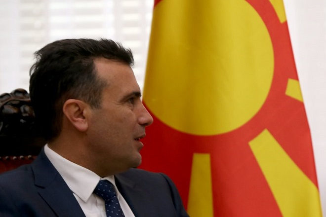 epa06341788 Zoran Zaev, the Prime Minister of the Former Yugoslav Republic of Macedonia (FYROM), talks with his Serbian counterpart Ana Brnabic (not in picture) in Belgrade, Serbia, 21 November 2017. Zoran Zaev is in Serbia on an official visit.  EPA/KOCA SULEJMANOVIC