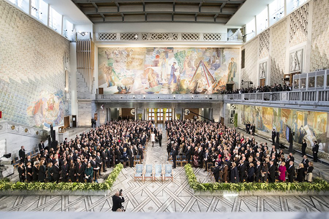 epa06381273 The Royal Family arrives at the award ceremony of the Nobel Peace Prize to International Campaign to Abolish Nuclear Weapons (ICAN) in the City Hall of Oslo, Norway, 10 December 2017.  EPA/Berit Roald NORWAY OUT