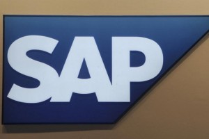 Logo of German company SAP is pictured at the CeBit computer fair in Hanover, Germany in this March, 6, 2012 file photo.     REUTERS/Fabian Bimmer